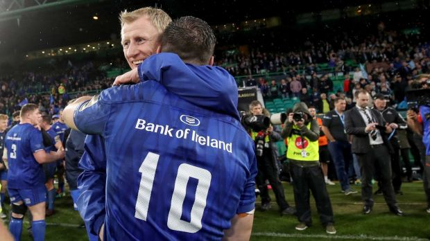 Leo Cullen and Johnny Sexton celebrate after the final whistle at Celtic Park. Photograph: Dan Sheridan/Inpho