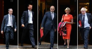 The six main contenders to replace UK prime minister Theresa May: Michael Gove; Dominic Raab;  Jeremy Hunt; Sajid Javid;  Andrea Leadsom and Boris Johnson. Photograph: /AFP/Getty Images
