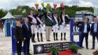 The victorious Irish team of Ger O'Neill, Susan Fitzpatrick, manager Taylor Vard, Jenny Rankin and Aidan Killeen, stand on the podium following their  victory in the Nations' Cup at Uggerhaine in Denmark.