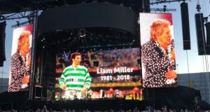 Rod Stewart's  tribute to  Liam Miller at Páirc Uí Chaoimh.  Photograph: Stephen Ryan/Twitter
