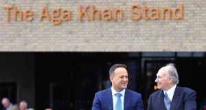 Taoiseach Leo Varadkar and the Aga Khan officially open the new facilities and the Aga Khan Grandstand during day two of the Curragh Spring Festival. Photograph:  PA Wire