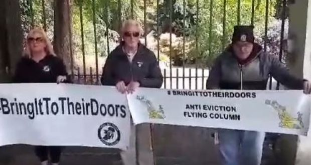 6e3ef26aa950 Videograb showing protesters outside Minister for Transport Shane Ross's  home on Sunday. Photograph: Fingal