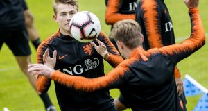 Matthijs de Ligt attends a training session for the Dutch national team. Photograph: EPA