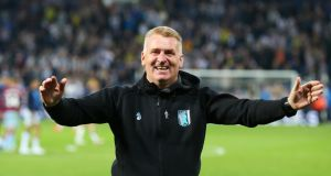 Manager of Aston Villa  Dean Smith celebrates victory in the penalty shootout after the  Championship play-off semi final against West Bromwich Albion  on May 14. Photograph: Alex Livesey/Getty Images