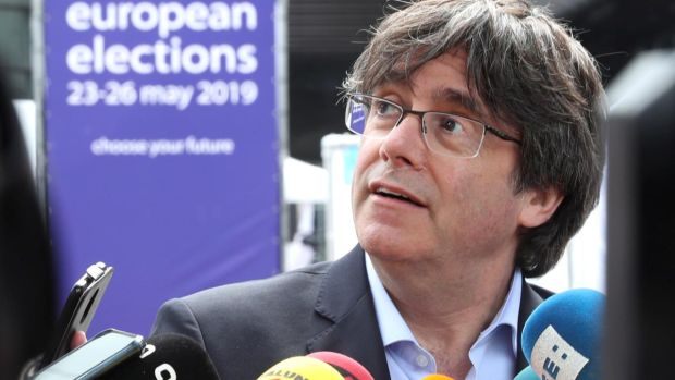Former Catalan president Carles Puigdemont: looks set to win a seat from self-imposed exile in Belgium. Photograph: Yves Herman/Reuters