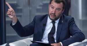 Italian deputy premier and interior minister Matteo Salvini: Exit polls indicated that Mr Salvini had taken his League party's seat tally from five to 15. Photograph:  EPA/MAURIZIO BRAMBATTI