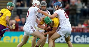 Galway and Wexford's Leinster clash ended in  a draw on Sunday. Photograph: Bryan Keane/Inpho