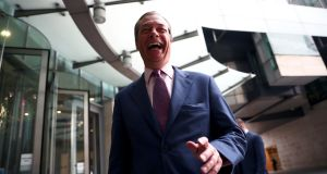 Leader of the Brexit Party Nigel Farage is pictured outside the BBC building, following the results of the European Parliament elections. Photograph: Hannah Mckay/Reuters