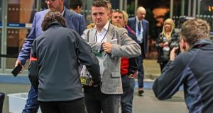 Tommy Robinson the independent candidate arrives ahead of the result in the European Parliamentary elections count at the Central Convention Complex in Manchester. Photograph: Peter Byrne/PA Wire