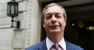 Brexit Party leader Nigel Farage: His party scored a resounding win in the European Parliament elections, winning at least 32% of the vote. Photograph: Andy Rain/EPA