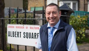 EastEnders: Lee MacDonald, who played Zammo in Grange Hill, on the Albert Square set. Photograph: BBC