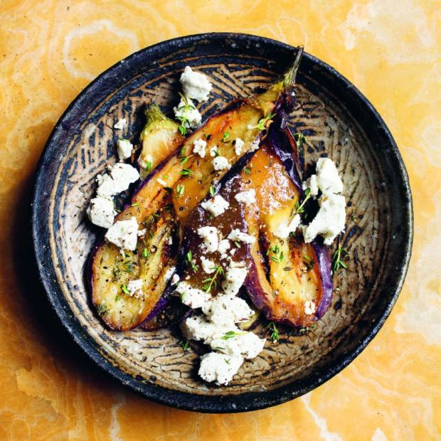 Nigel Slater's aubergine, honey, sheep's cheese. Photograph: Jonathan Lovekin/HarperCollins