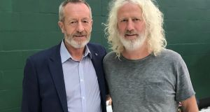 Fine Gael MEP candidate Sean Kelly and Independents 4 Change candidate Mick Wallace at the European Parliamentary election Ireland South count centre in Nemo Rangers GAA Club in Cork. Photograph: Michelle Devane/PA Wire