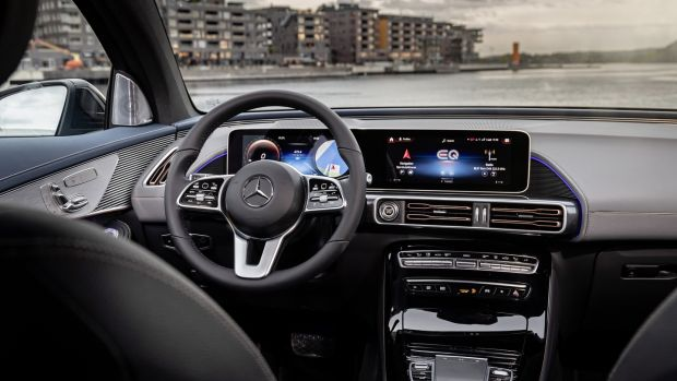 Inside the ECQ feels slightly larger than the regular GLC, with which it shares several major parts. It also boasts the latest in-car tech system, with a large 12-inch screen stretching across the dash