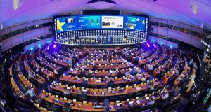 A view of the inside of the European Parliament hemicycle where journalists  attended the European elections results in the European Parliament in Brussels on Sunday. Photograph:  Emmanuel Dunand/AFP/Getty Images