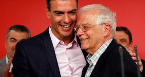 Socialist party  candidate for European elections Josep Borrell and Spanish acting prime minister Pedro Sanchez address the media following election results at party headquarters in Madrid on May 27th. Photograph: Susana Vera/Reuters