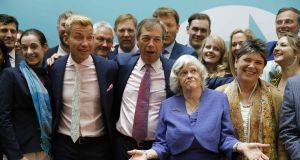 Former Conservative  MP  Ann Widdecombe   with colleagues from the Brexit Party celebrate it success in the EU elections in London on Monday. Photograph: Tolga AkmenAFP/Getty Images