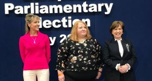 From left to right: Sinn Féin's Martina Anderson, Alliance leader Naomi Long and Diane Dodds from the DUP at the count centre in Derry on Monday. Photograph: Freya McClements