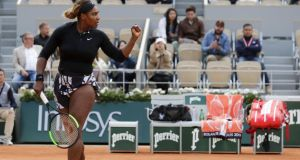 Serena Williams celebrates winning a point against Russia's Vitalia Diatchenko during their women's  first-round match at the French Open  in Paris. Photograph:  Thomas Samson/AFP/Getty Images