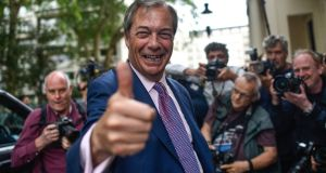 "Brexit Party leader Nigel Farage: ""The Conservative Party are bitterly divided and I consider it to be extremely unlikely that they will pick a leader who is able to take us out on October 31st come what may."" Photograph:  Peter Summers/Getty"