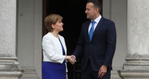 Scottish First Minister Nicola Sturgeon meets Taoiseach Leo Varadkar at Farmleigh House during her visit to Dublin. Photograph: Niall Carson/PA Wire