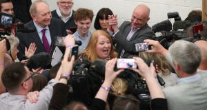 Alliance party leader and candidate Naomi Long (centre), at the European Parliamentary elections count at the Meadowbank Sports Arena in Magherafelt, Northern Ireland. Photograph: Liam McBurney/PA Wire