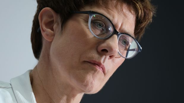 "CDU leader Annegret Kramp-Karrenbauer: said the YouTube intervention raised questions about ""whether analogue rules apply to the digital sphere, yes or no?"" Photograph: Sean Gallup/Getty Images"