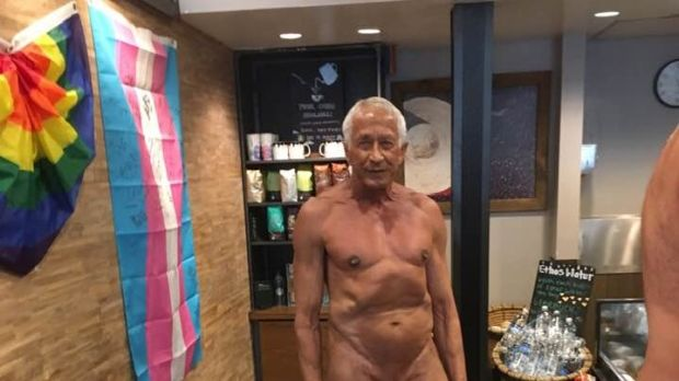 I was in town to give a reading from my new book, Naked, and two naked men walked into Starbucks right behind me. I asked one of the men if I could take his picture, and he consented.