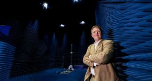 Prof Ronan Farrell, inside the specially constructed anechoic chamber of the new National 5G Test Centre at Maynooth University. Photograph: Maxwells Dublin