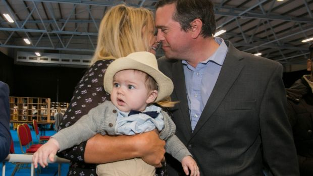 Terence Flanagan with Gayle Ralph and baby Darragh: he is back, having won a council seat for Fine Gael. Photograph: Gareth Chaney Collins