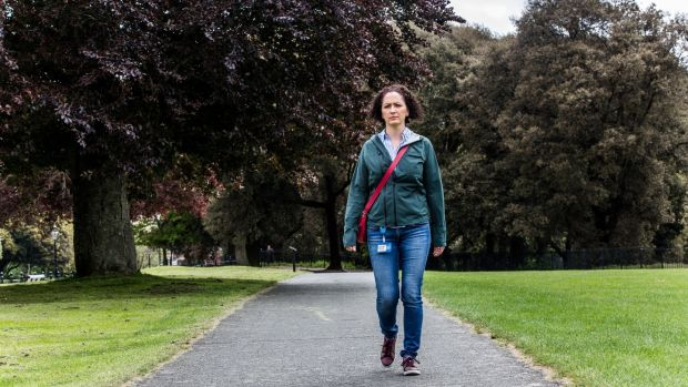 Sarah Doody walking in the Phoenix Park. Photograph: James Forde