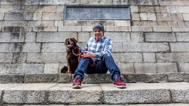 Conal McMenamin and his dog Daisy are seen in the Phoenix Park. Photograph: James Forde