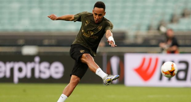 3fefa6667ee Arsenal s Pierre-Emerick Aubameyang during training at the Baku Olympic  Stadium in advance of Arsenal s