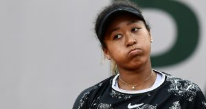 Japan's Naomi Osaka reacts during her  first-round match against Slovakia's Anna Karolina Schmiedlova at the Franch Open. Photograph: Philippe Lopez/AFP/Getty Images