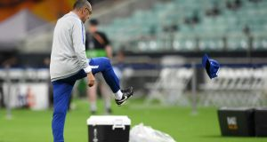 Chelsea manager  Maurizio Sarri kicks his hat away in  frustration during his side's final training session ahead of the Europa League final against Arsenal in Baku. Photograph:  Shaun Botterill/Getty Images