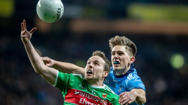"Mick Fitzsimons in action against Mayo's Andy Moran. ""I ended up in the full back line and found a niche, enjoyed it, enjoyed the analytical and technical aspects of trying to keep someone else quiet."" Photograph: Morgan Treacy/Inpho"
