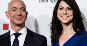 Jeff and MacKenzie Bezos. Ms Bezos has promised to give away more than half her $36.6 billion fortune. Photograph: EPA