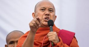 Ashin Wirathu: Supported the military crackdown on Rohingya Muslims in Rahkine state. Photograph:  Sai Aung Main/AFP/Getty Images