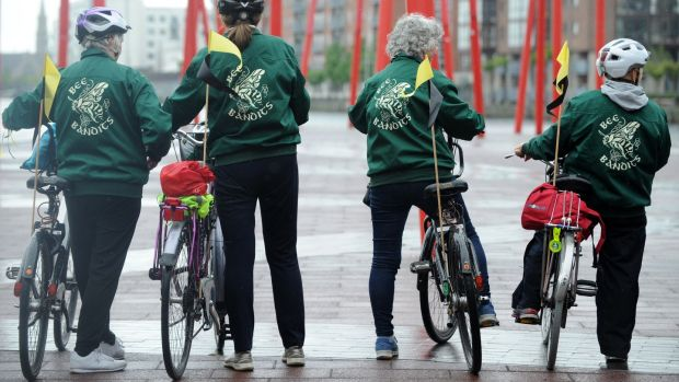 The Bee Bandits cycle in Dublin city centre. Photograph: Aidan Crawley