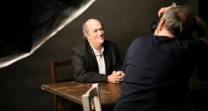 Gate's new season: Colm Tóibín is photographed by Conor Horgan on the Dublin theatre's stage. Photograph: Ailbhe O'Donnell