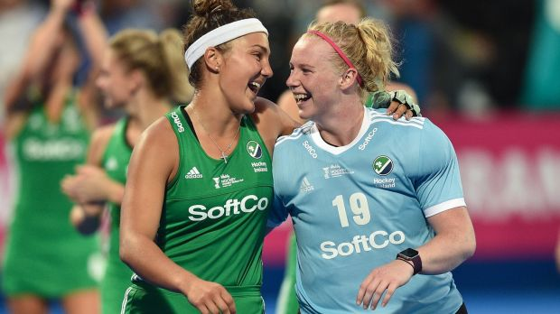 Ireland's Elena Tice and Ayeisha McFerran after their clash with England in the Hockey World Cup last year. Photograph: Joe Toth/Inpho