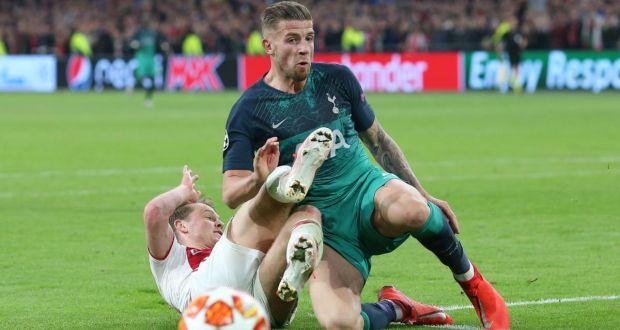 14c3da666 Tottenham s Toby Alderweirel blocks Ajax s Frenkie de Jong s shot during  their Champions League semi-final
