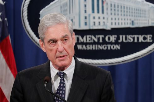 MUELLER'S MOMENT: US Special Counsel Robert Mueller makes his first public statement since he began his 22-month investigation into Russian electoral interference at the Justice Department in Washington DC. Photograph: Jim Bourg/Reuters