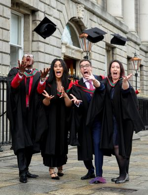 THE WAIT IS OVER: Joseph Ogunbode, Kelly Nwaokorie, Javier Rojas and Yvonne Kirwan celebrate their graduation as Physician Associates at the Royal College of Surgeons Ireland, St Stephen's Green, Dublin. Photograph: Maxwell's Dublin