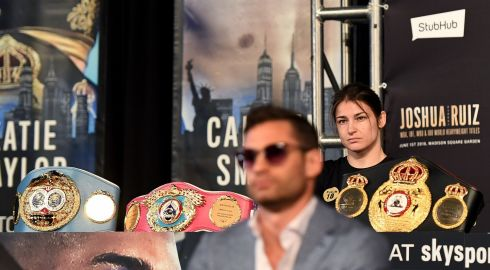 SHOW OF STEEL: Irish boxer Katie Taylor at the press conference ahead of her bout with Delfine Persoonor for the undisputed world lightweight title in New York. Photograph: Jeff Fusco/Inpho