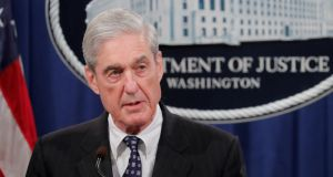 Special counsel Robert Mueller makes a statement on his investigation into Russian election interference,  in Washington, DC, US. Photograph: Jim Bourg/Reuters