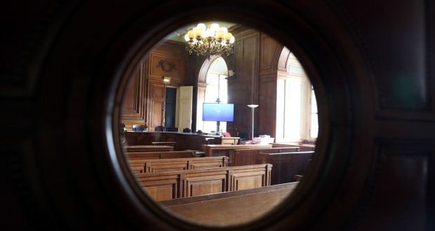 A  view of the room in the Palais de Justice de Paris, where the trial of Ian Bailey is taking place in his absence. Photograph: Steve Parsons/PA Wire