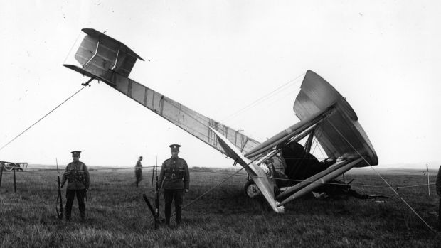 The Vickers Vimy under armed guard on Derrygimla bog at Clifden. Photograph: Topical Press Agency/Getty Images