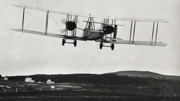 Alcock and Brown's Vickers Vimy biplane taking off from Terranova for the Atlantic crossing, June 14th, 1919, Canada, 20th century. Photograph: Getty Images
