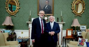 Labour Party leader  Jeremy Corbyn is welcomed to  Áras an Uachtaráin in Dublin by  President Michael D Higgins.